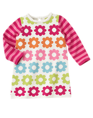 Toddler Girls Ivory Floral Flower Stripe Sweater Dress by Gymboree