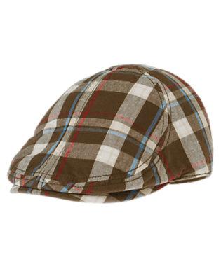 Boys Chocolate Brown Plaid Plaid Hat by Gymboree