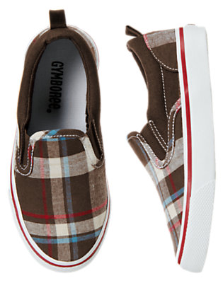 Boys Chocolate Brown Plaid Plaid Slip-On Sneaker by Gymboree