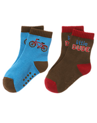 Toddler Boys Trailblazer Blue Bicycle Dude Sock Two-Pack by Gymboree