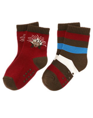 Toddler Boys Bicycle Red Porcupine Stripe Sock Two-Pack by Gymboree