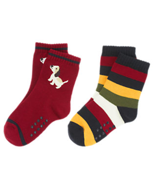 Toddler Boys Academy Red Puppy Stripe Sock Two-Pack by Gymboree