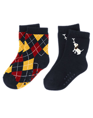 Toddler Boys Academy Red Dog Argyle Sock Two-Pack by Gymboree