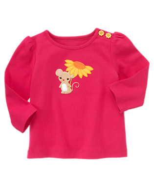 Fuchsia Pink Sunflower Mouse Long Sleeve Tee by Gymboree