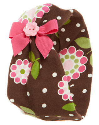 Brown Flower Dot Button Bow Floral Headband by Gymboree
