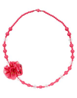 Pretty Pink Polka Dot Corsage Gem Bead Necklace by Gymboree