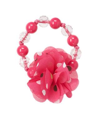 Girls Pretty Pink Polka Dot Corsage Bauble Bracelet by Gymboree
