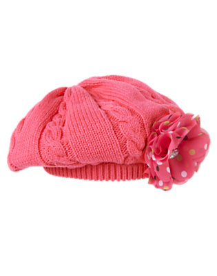Girls Pretty Pink Polka Dot Corsage Sweater Hat by Gymboree
