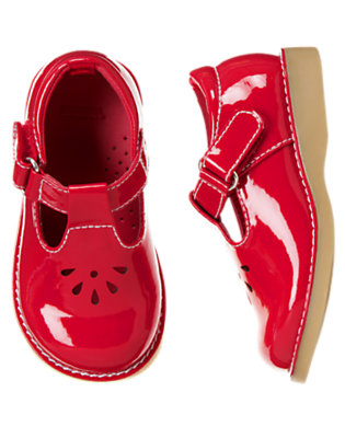 Toddler Girls Cherry Red T-Strap Patent Shoe by Gymboree