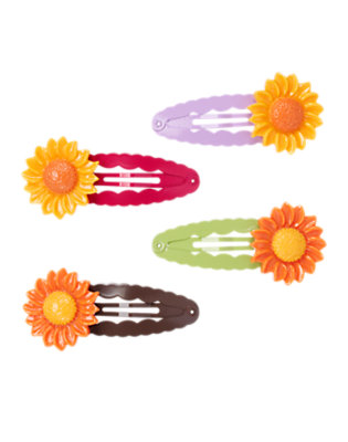 Girls Sunflower Yellow Sunflower Hair Clip Four-Pack by Gymboree