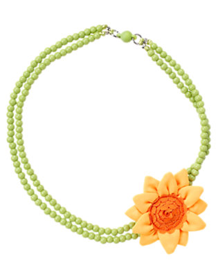 Girls Leaf Green Sunflower Bead Necklace by Gymboree