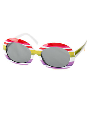 Girls White Stripe Stripe Sunglasses by Gymboree