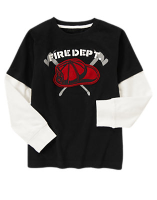 Black Fire Rescue Double Sleeve Tee by Gymboree