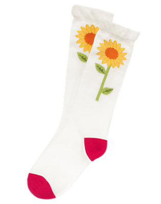 Girls Ivory Sunflower Knee Sock by Gymboree