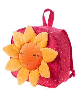 Girls Fuchsia Pink Sunflower Plush Backpack by Gymboree