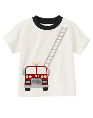 Ivory Fire Truck Ladder Tee by Gymboree