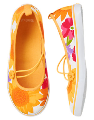 Girls Ivory Sunflower Blossom Sunflower Sneaker by Gymboree