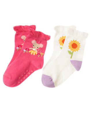 Toddler Girls Pretty Pink Mouse Sunflower Sock Two-Pack by Gymboree