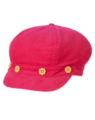 Toddler Girls Fuchsia Pink Sunflower Button Corduroy Hat by Gymboree