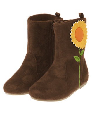 Chocolate Brown Sunflower Faux Suede Boot by Gymboree