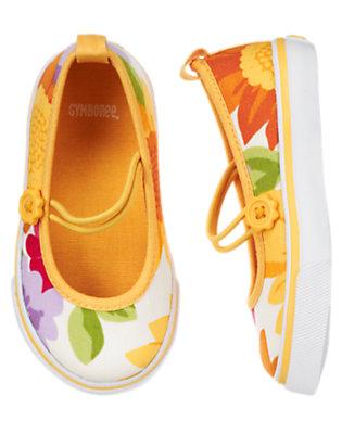 Toddler Girls Ivory Sunflower Blossom Sunflower Sneaker by Gymboree