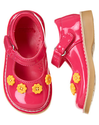 Toddler Girls Fuchsia Pink Flower Button Patent Shoe by Gymboree