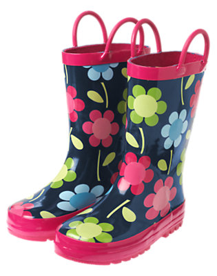 Girls Navy Floral Flower Rainboot by Gymboree