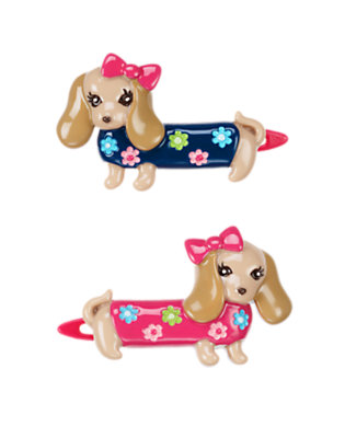 Girls Tan Dog Hair Clip Two-Pack by Gymboree