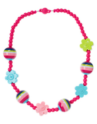 Girls Berry Pink Flower Bead Necklace by Gymboree