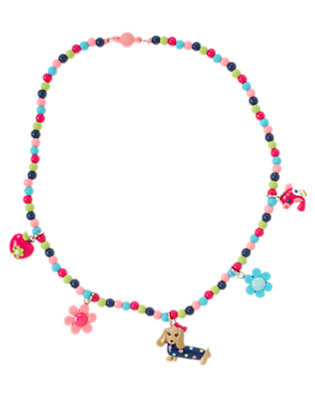 Girls Pretty Pink Dog Bird Necklace by Gymboree