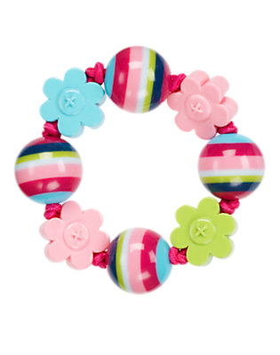 Girls Berry Pink Flower Bead Bracelet by Gymboree