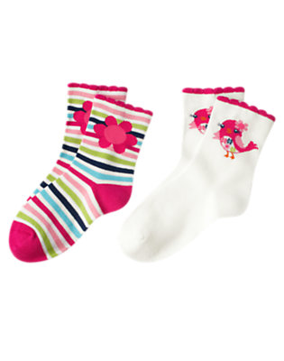 Berry Pink Stripe Bird Stripe Sock Two-Pack by Gymboree