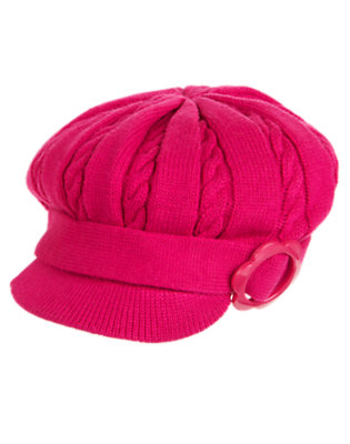 Girls Berry Pink Flower Buckle Sweater Hat by Gymboree