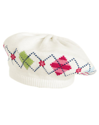 Girls Ivory Argyle Argyle Sweater Beret by Gymboree