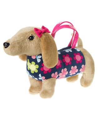 Girls Deep Blue Floral Dog Plush Purse by Gymboree