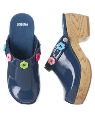 Deep Blue Flower Button Patent Clog by Gymboree