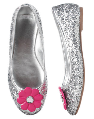Girls Metallic Silver Gem Flower Glitter Ballet Flat by Gymboree