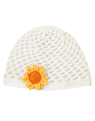 Ivory Sunflower Crochet Hat by Gymboree