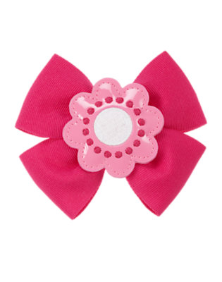 Berry Pink Patent Flower Bow Hair Clip by Gymboree
