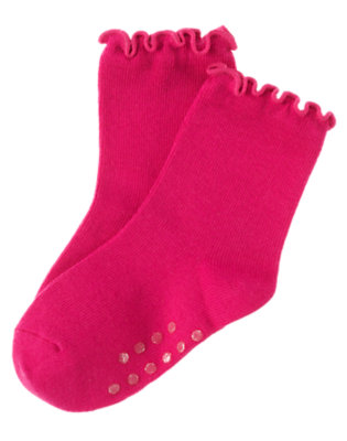Toddler Girls Berry Pink Ruffle Sock by Gymboree
