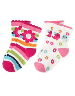 Toddler Girls Berry Pink Stripe Bird Stripe Sock Two-Pack by Gymboree