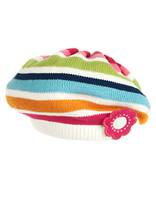 Toddler Girls Berry Pink Stripe Flower Stripe Sweater Beret by Gymboree