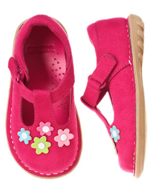 Toddler Girls Berry Pink Flower Faux Suede T-Strap Shoe by Gymboree