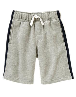 Boys Heather Grey Athletic Stripe Fleece Short by Gymboree