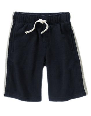 Boys Gym Navy Athletic Stripe Fleece Short by Gymboree