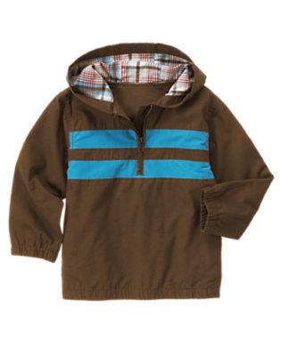 Boys Chocolate Brown Stripe Half Zip Ripstop Jacket by Gymboree