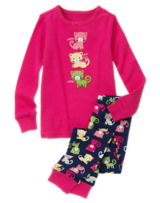 Girls Fuchsia Pink Meow Kitty Two-Piece Gymmies® by Gymboree