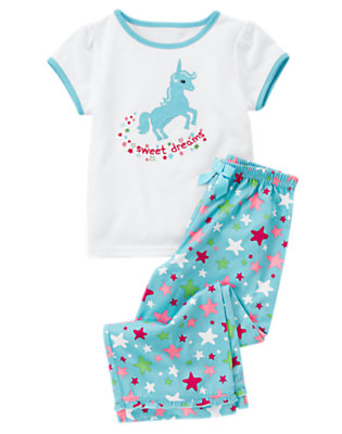 Toddler Girls White Sweet Dreams Unicorn Two-Piece Pajama Set by Gymboree