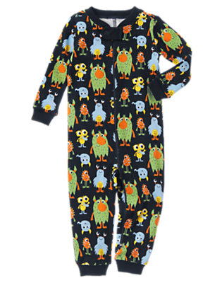 Boys Gym Navy Monsters One-Piece Gymmies® by Gymboree