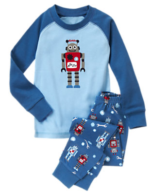 Toddler Boys Light Blue Big Robot Two-Piece Gymmies® by Gymboree
